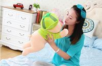 new cute plush pig toy cuddly toy stuff lying watermelon pig doll valentine's day gift about 50cm