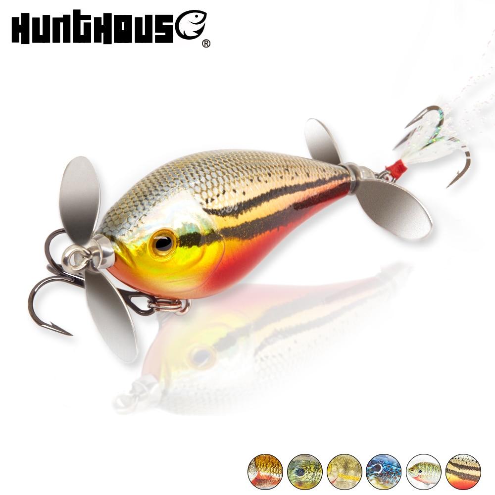 Hunthouse Fishing Lure Bass Fishing Tackles Crankbait Hard Bait Cranks Wobblers Topwater Lure 60mm 13g Prop Crank Bait Noise