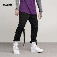 De moda de los hombres pantalones casuales de la calle Hip Hop pantalones  Cargo hombre Multi-Bolsillo cintas bailarina pantalone. 625e3978f34
