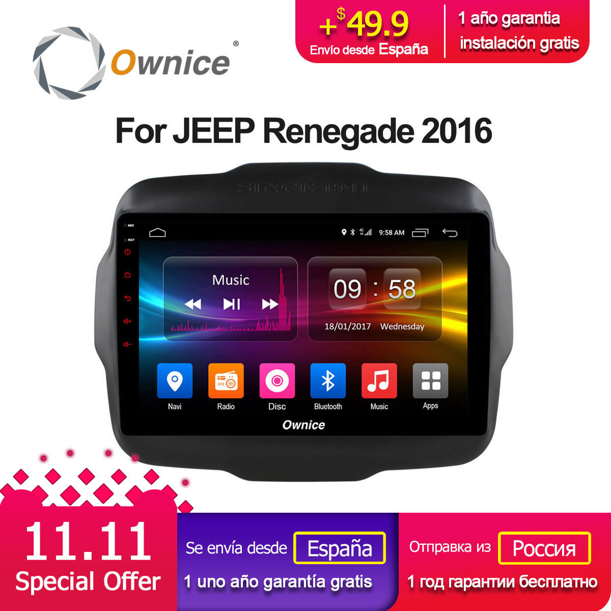 Ownice C500+ G10 Android 8.1 Eight Core Car Radio Player DVD GPS Navi for Jeep Renegade 2016 4G SIM Card 2G RAM 32G ROM CarPlay ownice c500 4g sim lte octa 8 core android 6 0 for kia ceed 2013 2015 car dvd player gps navi radio wifi 4g bt 2gb ram 32g rom