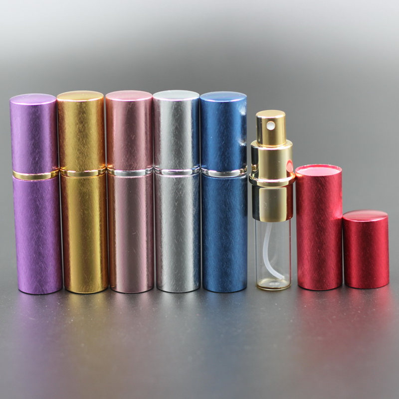 Nowe pompy 50 sztuk/partia 10 ml z anodyzowanego aluminium szklana butelka perfum fiolka perfumy płyn Atomizer Spray pojemnik na butelki zapach butelka w Butelki wielokrotnego użytku od Uroda i zdrowie na  Grupa 3