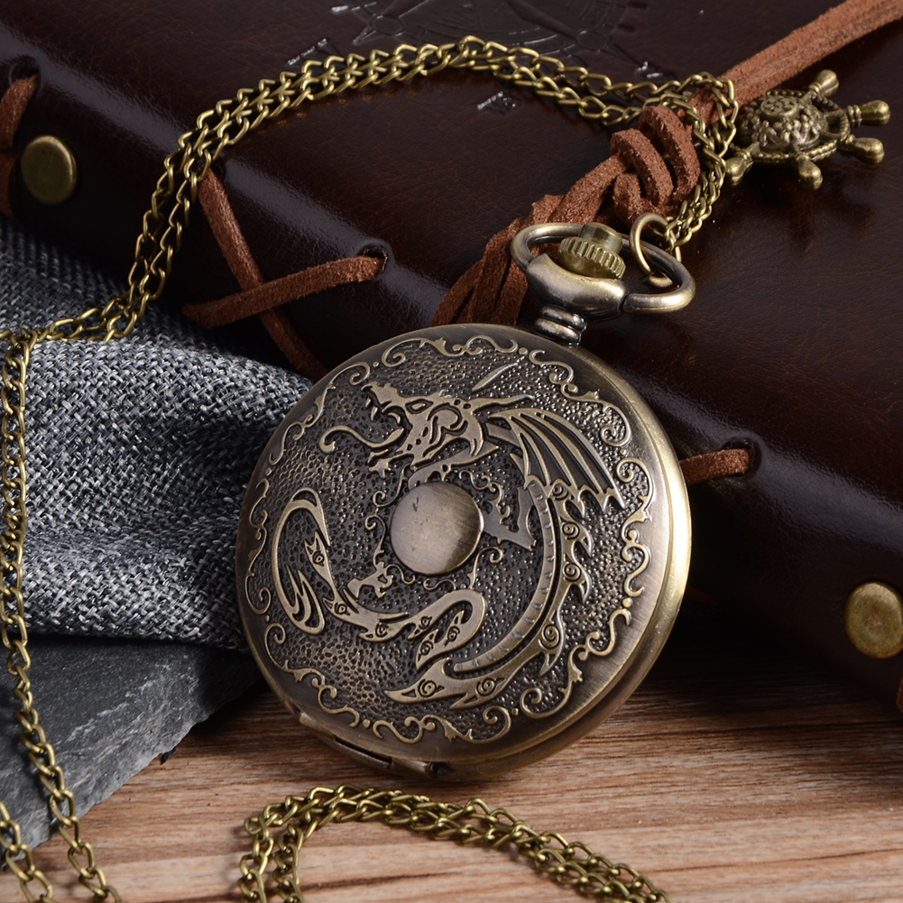 Cindiry vintage Bronze Mechanical Dragon fullmetal alchemist Pocket Watch Chain vintage Steampunk Quartz pocket watches Men