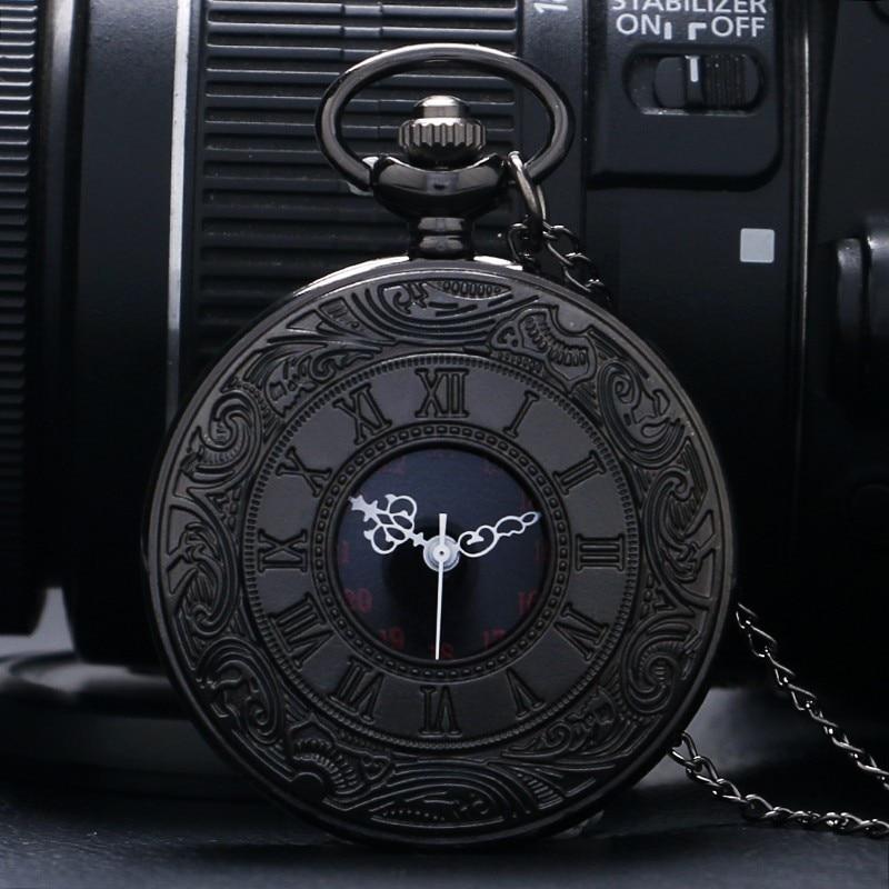 Black Pocketwatch Vintage CharmUnisex Fashion Roman Number Quartz Steampunk Pocket Watch Women Man Necklace Pendant With Chain