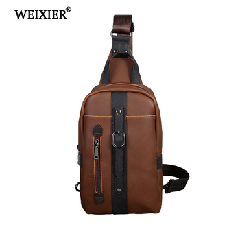 WEIXIER  New High Quality Messenger Bag Men PU Leather Vintage Chest Back Pack Travel Fashion Crossbody Small Shoulder Bags promotions new arrived men s chest pack casual shoulder pu leather crossbody bags travel messenger bag with usb interface