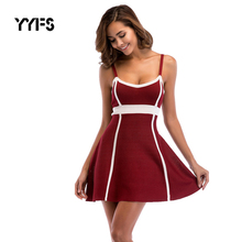 YYFS New Knit Dress women Sexy sleeveless sheath Sling dresses 2019 spring autumn High waist A-line splice dress roupas feminina surplice high waist knit dress