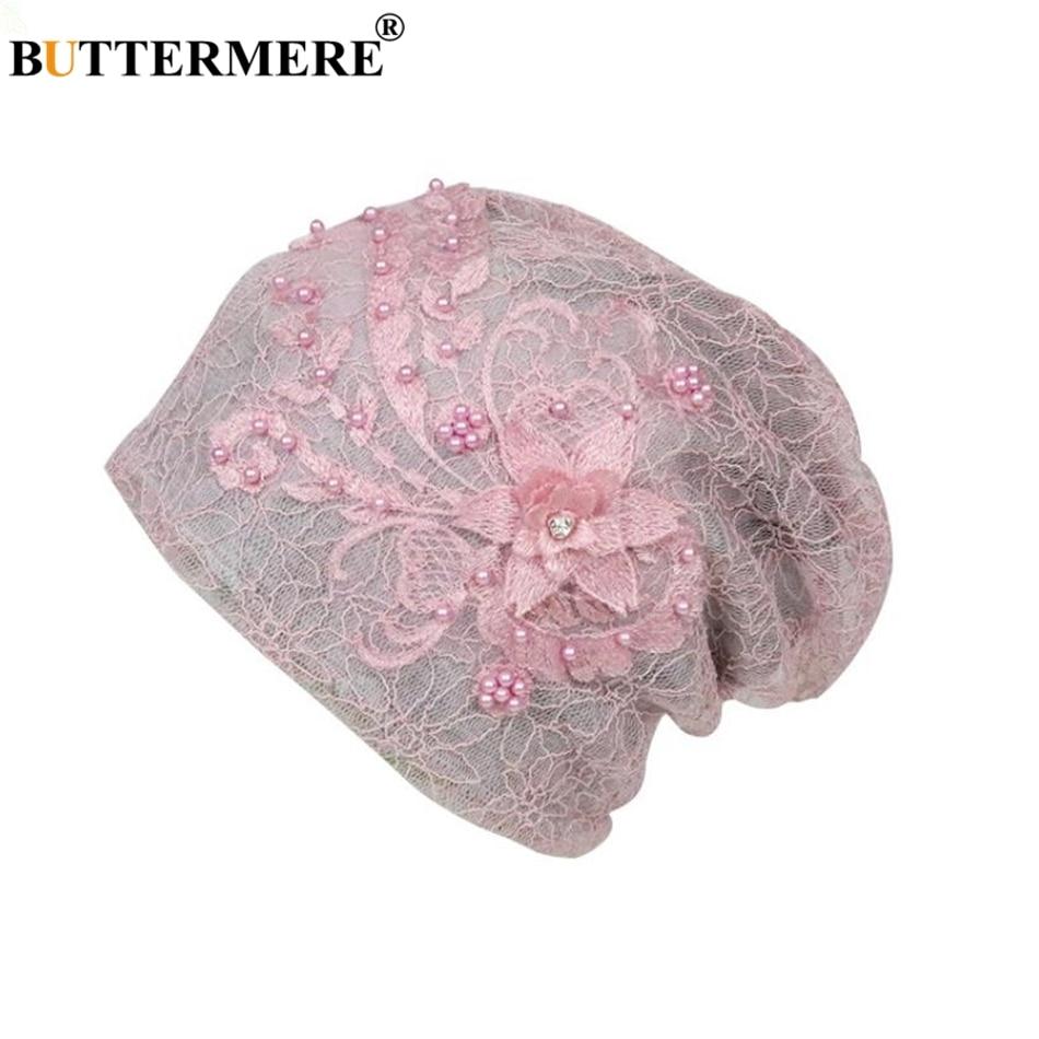 BUTTERMERE Lace   Skullies     Beanies   Caps Women Chemotherapy Turban Stretch Female Pile Heap Cap Ladies Pink Headscarf Bandana