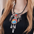 New Bohemian Ethnic Embroidery Necklace Embroidered Big Flower Pendant Long Chain ZA Statement Necklace Indian Jewelry For Women