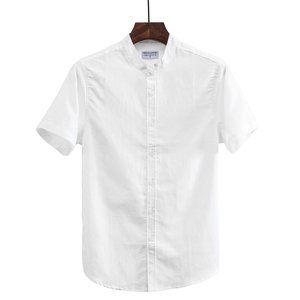 Image 4 - 2019 Men Fashion Summer Stand Collar Japan Style Thin Cotton Linen Short Sleeve Solid Shirt Male Casual Shirts Plus Size  110Kg