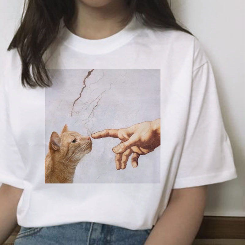 cat funny t shirt female hands Casual Michelangelo fashion short sleeve tshirt ulzzang kawaii women streetwear