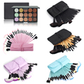 Fashion 32pcs Powder Foundation Eyeliner Makeup Brush with Bag + 15 Colors Face Concealer Contour Blusher Palette Cosmetic Kits