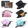 Moda 32 pcs Delineador Pincel de Maquiagem com Saco + 15 Cores Em Pó Fundação Rosto Concealer Contour Blush Palette Cosméticos Kits