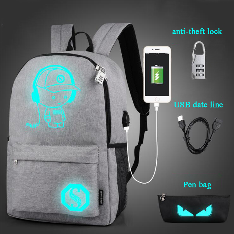 100Pcs/Lot USB Charge Canvas Backpack Luminous Pupils Good School Backpack Students Backpack Backpack