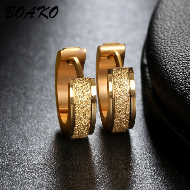 BOAKO Gold Hoop Earrings For Women Men Frosted Stainless Steel Piercing Round Huggies Earring Simple Punk Jewelry Circle Earring