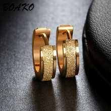 BOAKO Gold Hoop Earrings For Women Men Frosted Stainless Steel Piercing Round Huggies Earring Simple Punk Jewelry Circle