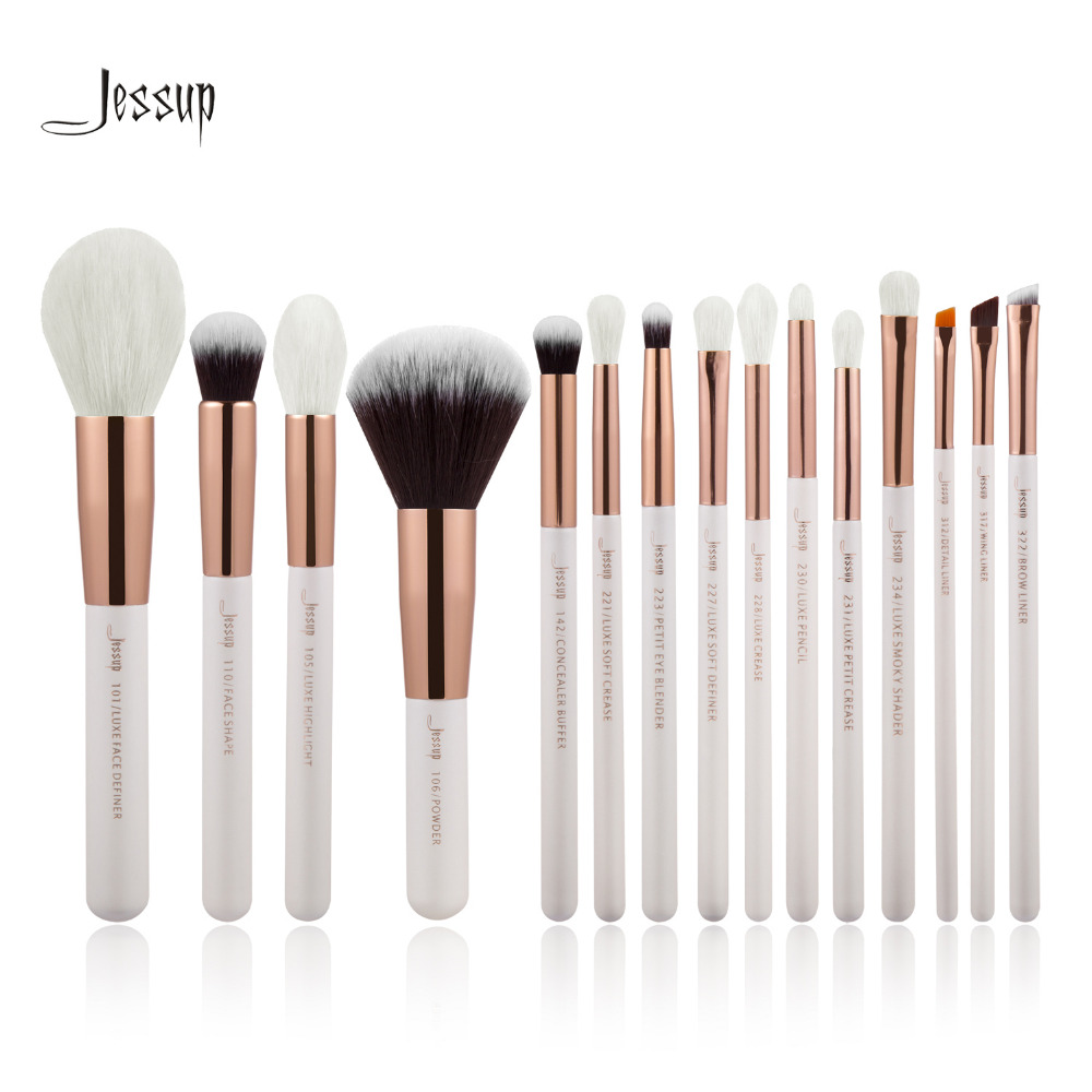 Jessup Pearl White/Rose Gold Professional Makeup Brushes Set Make up Brush Tools kit Foundation Powder natural-synthetic hair цены онлайн