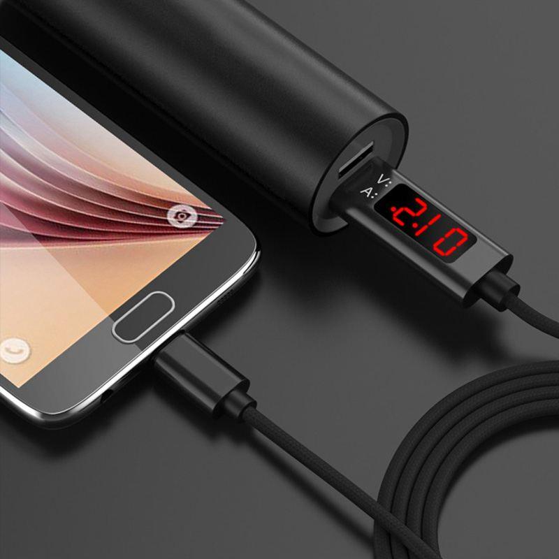 USB Type C Kabel, QC 3.0 Snel Opladen Spanning en Stroom Display Gevlochten USB C Data Sync Kabel