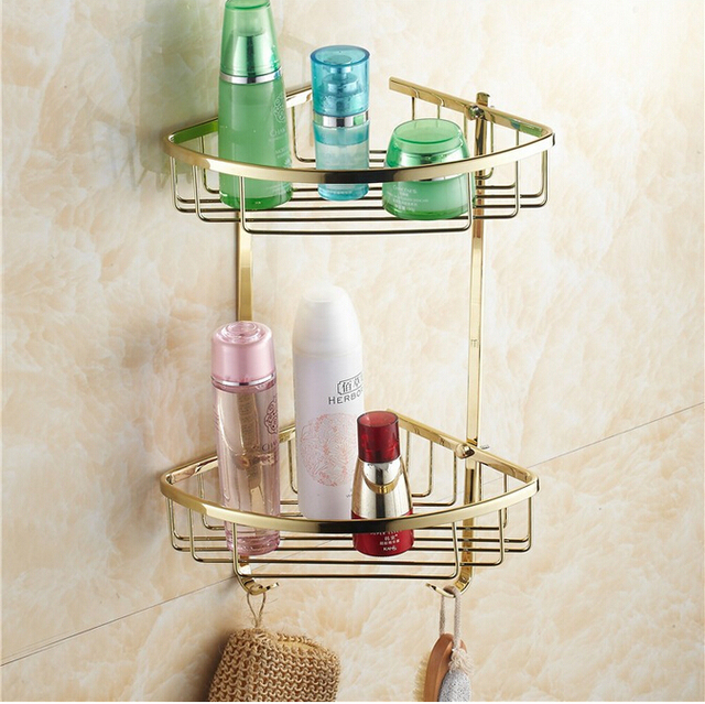 Buy wall mounted gold copper bathroom soap basket bathroom corner shelf bath for Corner shelves for bathroom wall mounted