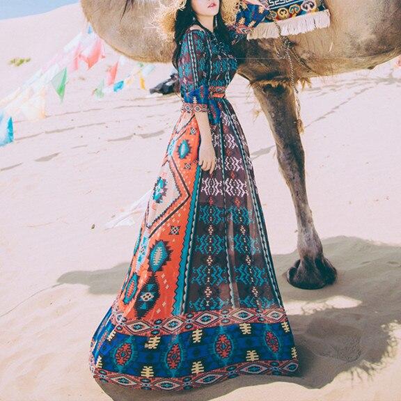 Automne bohème imprimer robe en mousseline de soie femmes longues Vintage robes décontractées Style ethnique vêtements femmes vêtements Etnik Elbise