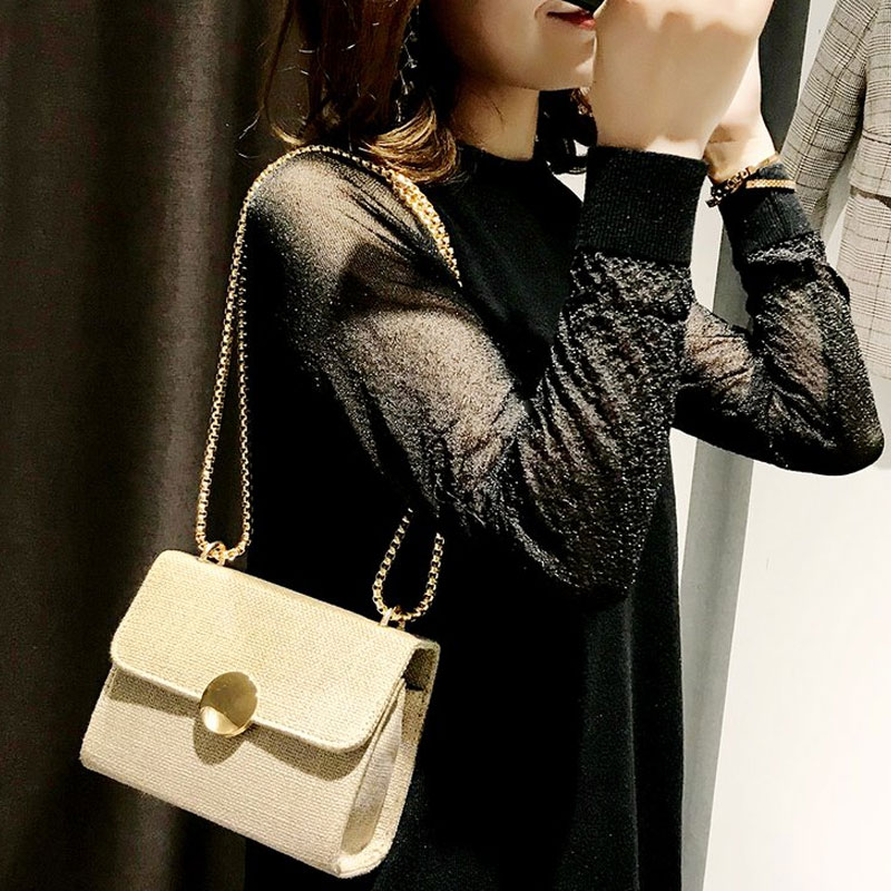 Woven Women Handbag New Lady National Messenger Bag Girl Shoulder Bags 3 Color Solid Fashion metal chains