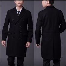 S-4XL Осень и зима шерстяное пальто средней длины мужская двубортный шерстяной верхняя одежда тонкий утолщение долго пальто одежда
