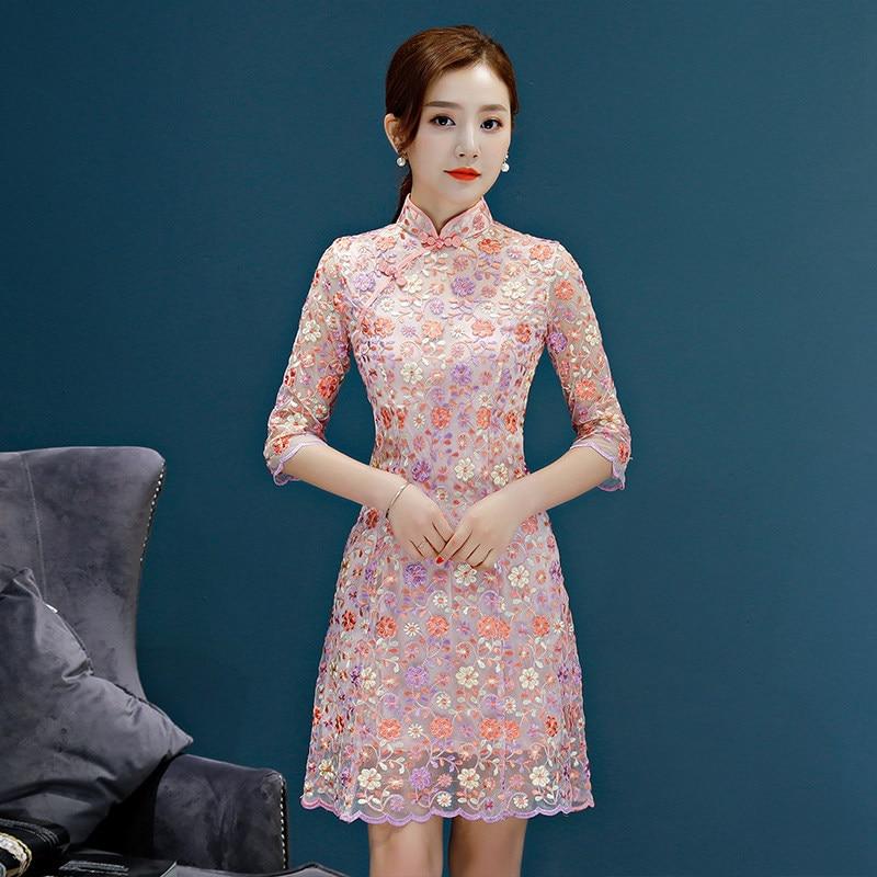 Nouveauté femmes Mini Cheongsam mode chinois court Style Sexy dentelle robe d'été Slim Qipao Vestidos taille S M L XL XXL 92907