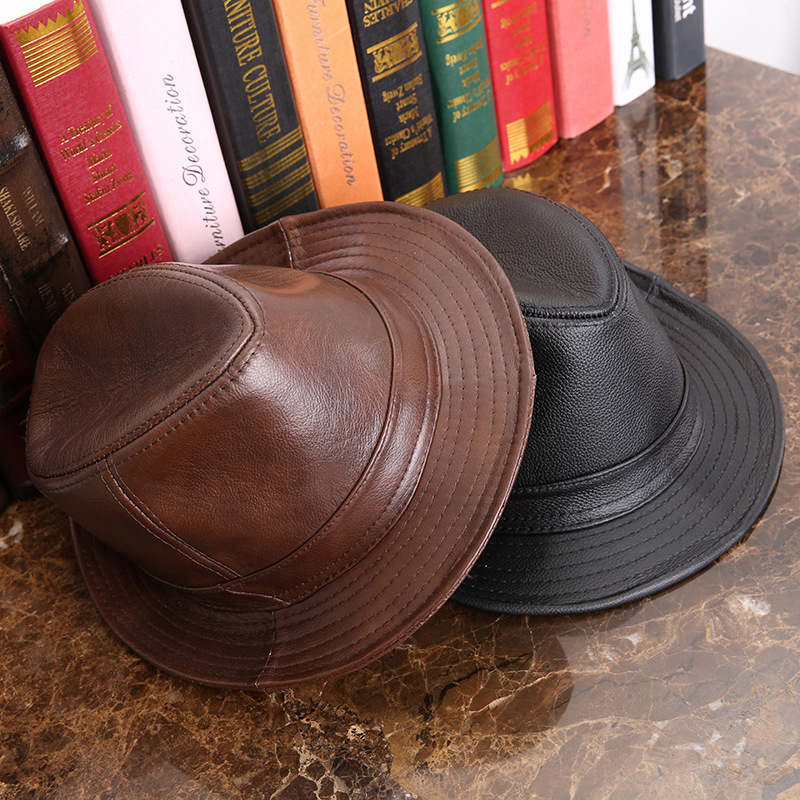 Factory direct selling leather hat men and women cowhide hat on the beach tycoon jazz hat