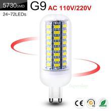 Дешевые Bombilla светодиодный лампочка g9 SMD5730 G9 AC 110V 220V 7 Вт, 9 Вт, 12 Вт, 15 Вт, 20 Вт, 25 Вт светодиодный кукурузы лампочки с ампулой яркий 24 72 светодиодный s холодный теплый белый