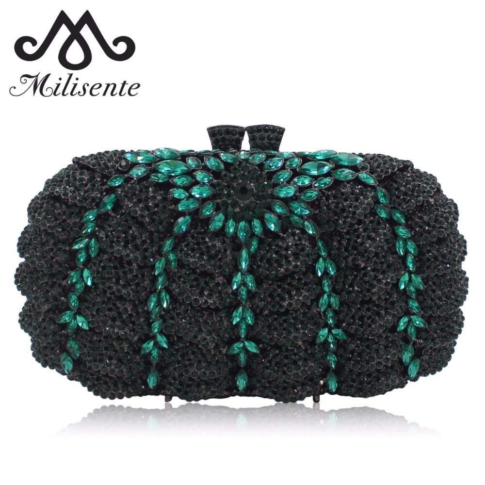 Milisente Luxury Crystal Clutches Evening Bag Women Clutch Silver Wedding Purse Party Bags With Chain milisente high quality luxury crystal evening bag women wedding purses lady party clutch handbag green blue gold white