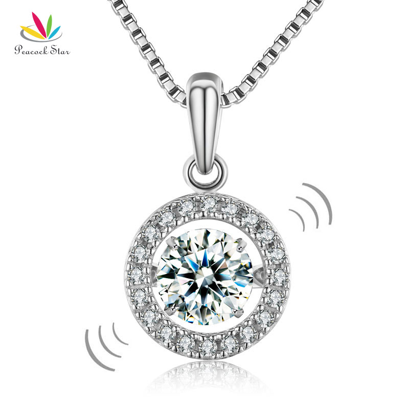 Peacock Star Dancing Stone 1 Carat Pendant Necklace Solid 925 Sterling Silver Good for Wedding Bridesmaid Gift CFN8099