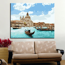 купить Blue Sky White Clouds Building And Ship Scenery Picture Modern By Numbers Kits Coloring DIY HandPainted Home Wall Artwork дешево