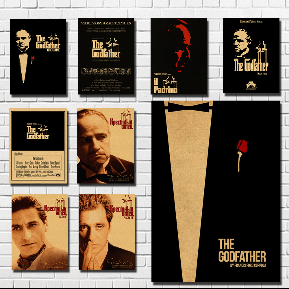 Godfather Classic Old Movie Poster Retro Vintage Retro Brown Paper Decoration Painting The Living Room Bar Brando Malone