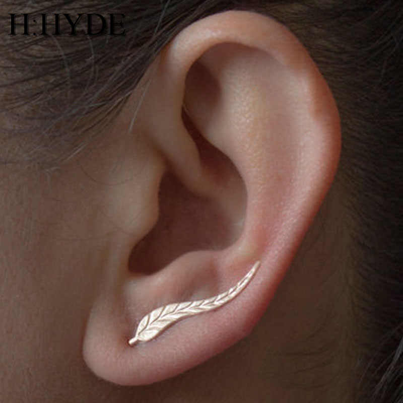 H:HYDE 2 Pairs Earrings Vintage Jewelry Exquisite Gold Color Leaf Earrings Modern Beautiful Feather Stud Earrings for Women