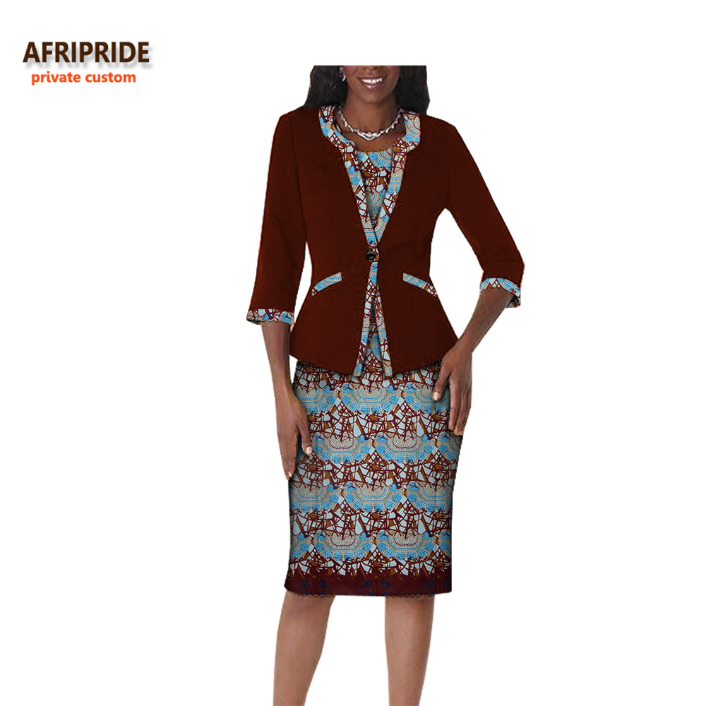 2018 autumn african clothes women 2-pieces suit AFRIPRIDE three quarter sleeve single button top+knee-length dress suit A722656