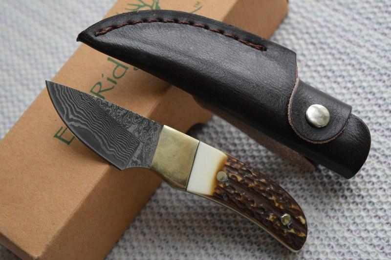TRSKT Elk Ridge font b Hunting b font font b knife b font Damascus Steel Blade