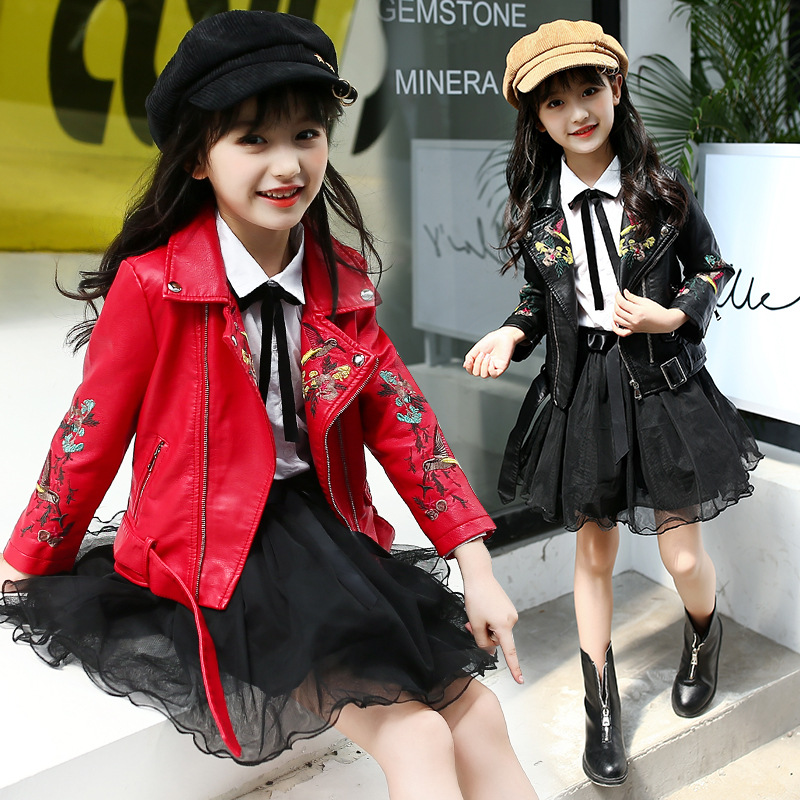 Spring Autumn Teens Girls  Faux Leather PU Floral Jackets for Teen Girl Flower Embroidery Coat Teenagers Cool Veste ChaquetasSpring Autumn Teens Girls  Faux Leather PU Floral Jackets for Teen Girl Flower Embroidery Coat Teenagers Cool Veste Chaquetas