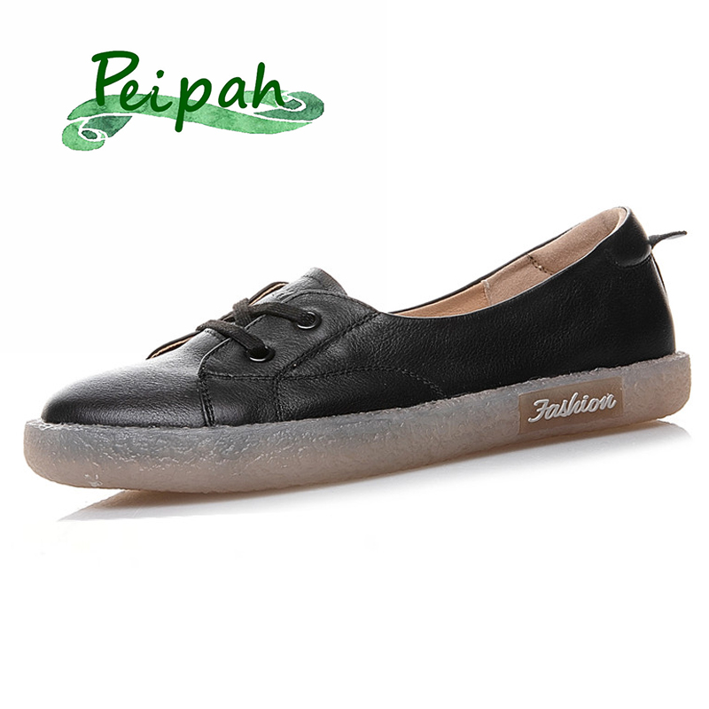 PEIPAH Summer Handmade Genuine Leather Shallow Women Shoes Solid Cow Leather Ladies Flat Shoes Casual Slip-On Female Loafers