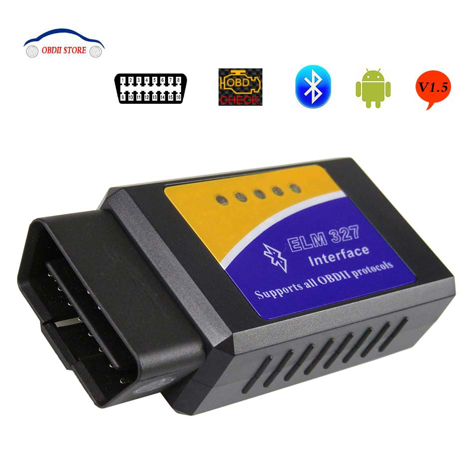 Più nuovo V1.5 Elm327 Adattatore Bluetooth Obd2 Elm 327 V 1.5 Auto Diagnostica Scanner Per Android Elm-Obd 2 ii Auto diagnostico-Troppo