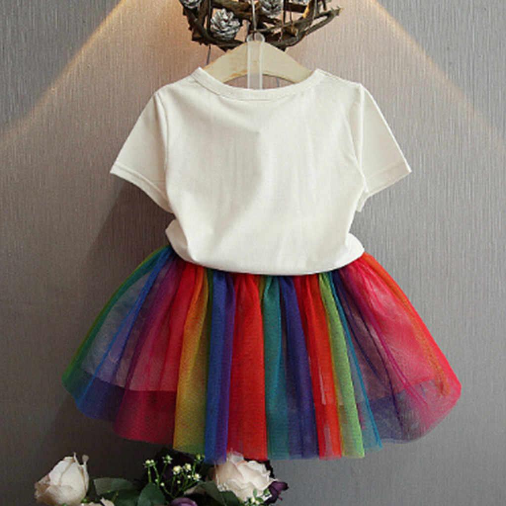 CHAMSGEND niño bebé niñas algodón mezcla globo estampado camiseta Tops + Arco Iris tutú tul faldas moda trajes 19MAR8 P40
