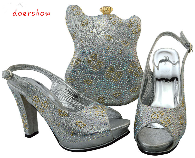 African Matching Shoe and Bag Set Decorated with Rhinestone High Quality Women Shoes and Bag To Match for Party doershow BCH1-41