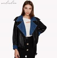 Nerlerolian 2017 Women Denim Jackets Leather Patchwork Full Sleeve Turn-down Collar Pockets Zipper Casual Warm Coats BC8365