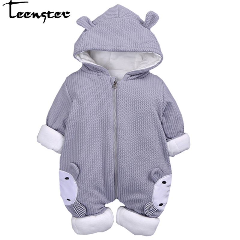 baby girl boy clothes new born winter rompers with deer ear