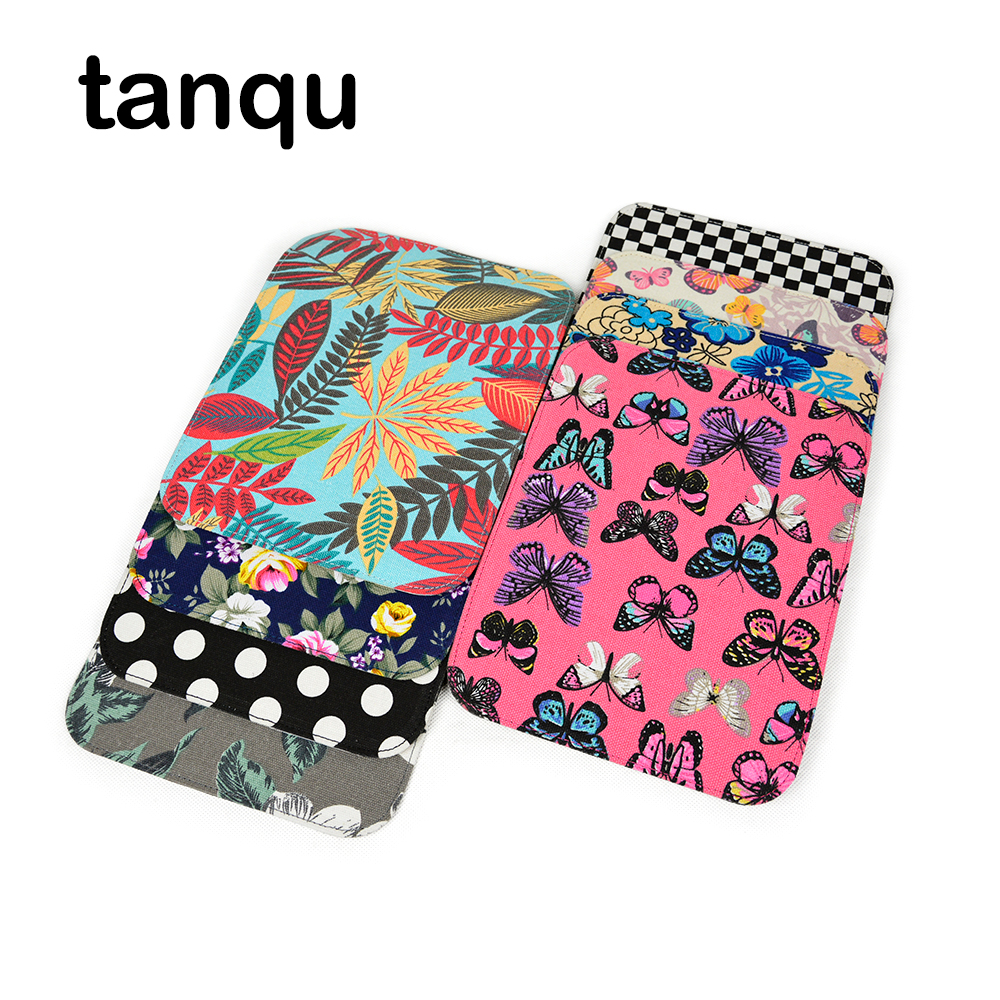 Tanqu Fabric PU Leather Flap Cover For Obag O Pocket Bag Floral Cartoon Lid Clamshell Magnetic Lock Snap Fastener