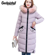 Geckoistail Womens New Winter Fashion Slim Parkas Coats Fur Collar Hooded Thick Down Cotton Jackes Parkas Women Warm Outwear