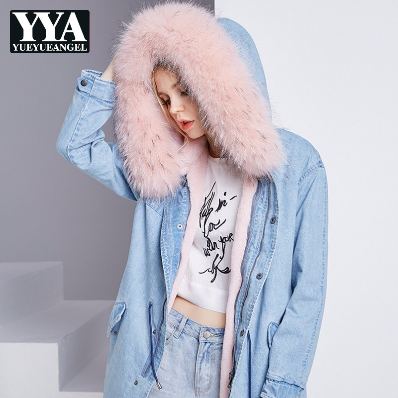 Зимняя женская теплая флисовая Свободная джинсовая куртка бойфренда с воротником из лисьего меха, джинсовое пальто с капюшоном, Женская Повседневная Уличная длинная куртка