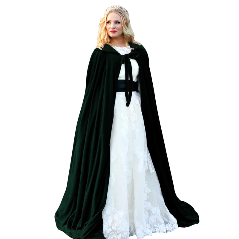 2019 New Halloween Hooded Cloak Velvet Witches Princess Death Long Cape Adult Kids Costume Cosplay Outwear Gothic Heroic Cloaks