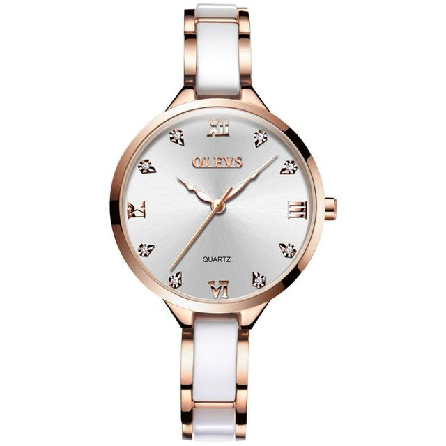 OLEVS Top Brand Ladies Wristwatch Ceramic Strap Luxury Gold Dial Women Watches Clock Cubic Zirconia Thin Watchbands Woman Watch | Fotoflaco.net