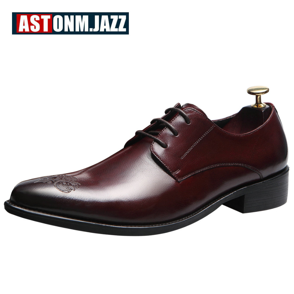 Men's Casual Full Grain Leather Oxfords Shoes Lace-up Pointed Toe Flat Shoe Handmade Brogue Shoes Office Career Wedding Dresses 2016 men s oxfords dress wedding shoes genuine leather point toe lace up carving eu38 44 3colors latest full grain leather