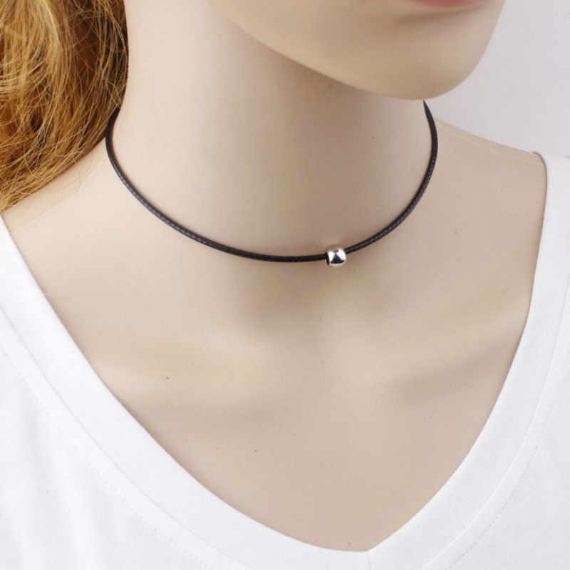 بسيطة موضة المختنق قلادة رقيقة الأسود جلدية حبل ماكسي القلائد مع الذهب/الفضة اللون المعادن الخرز قلادة قصيرة النساء