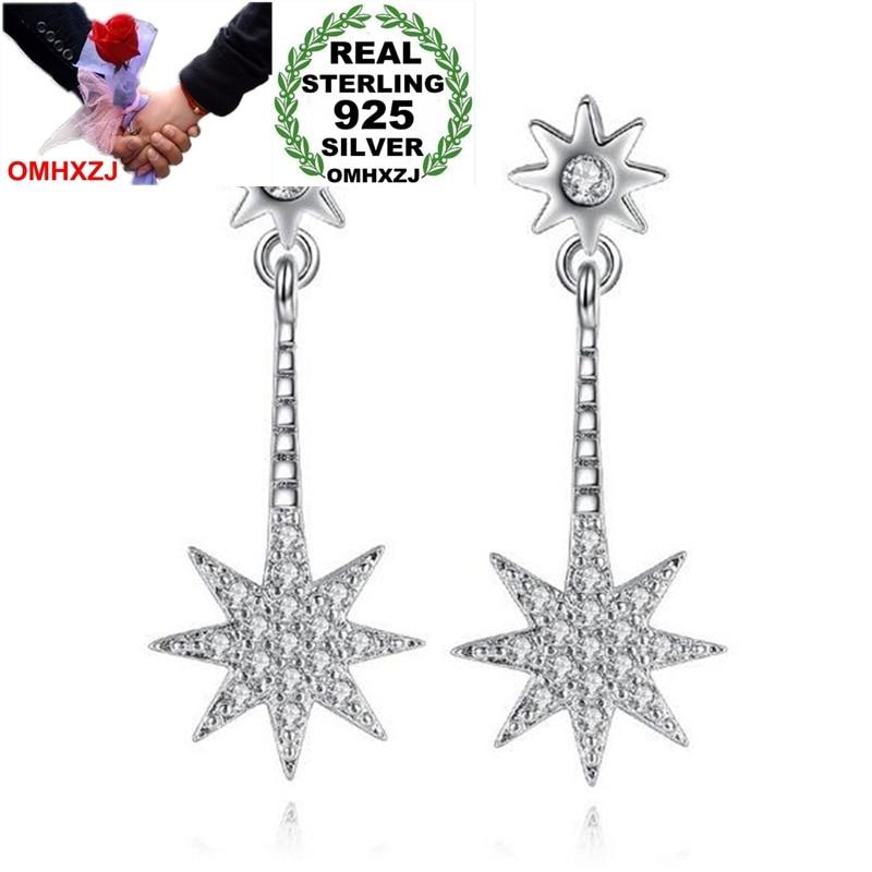 OMHXZJ Wholesale hyperbole Personality Octagonal Star Fashion For Woman Party Sun 925 Sterling Silver Tassel Stud Earrings YS288