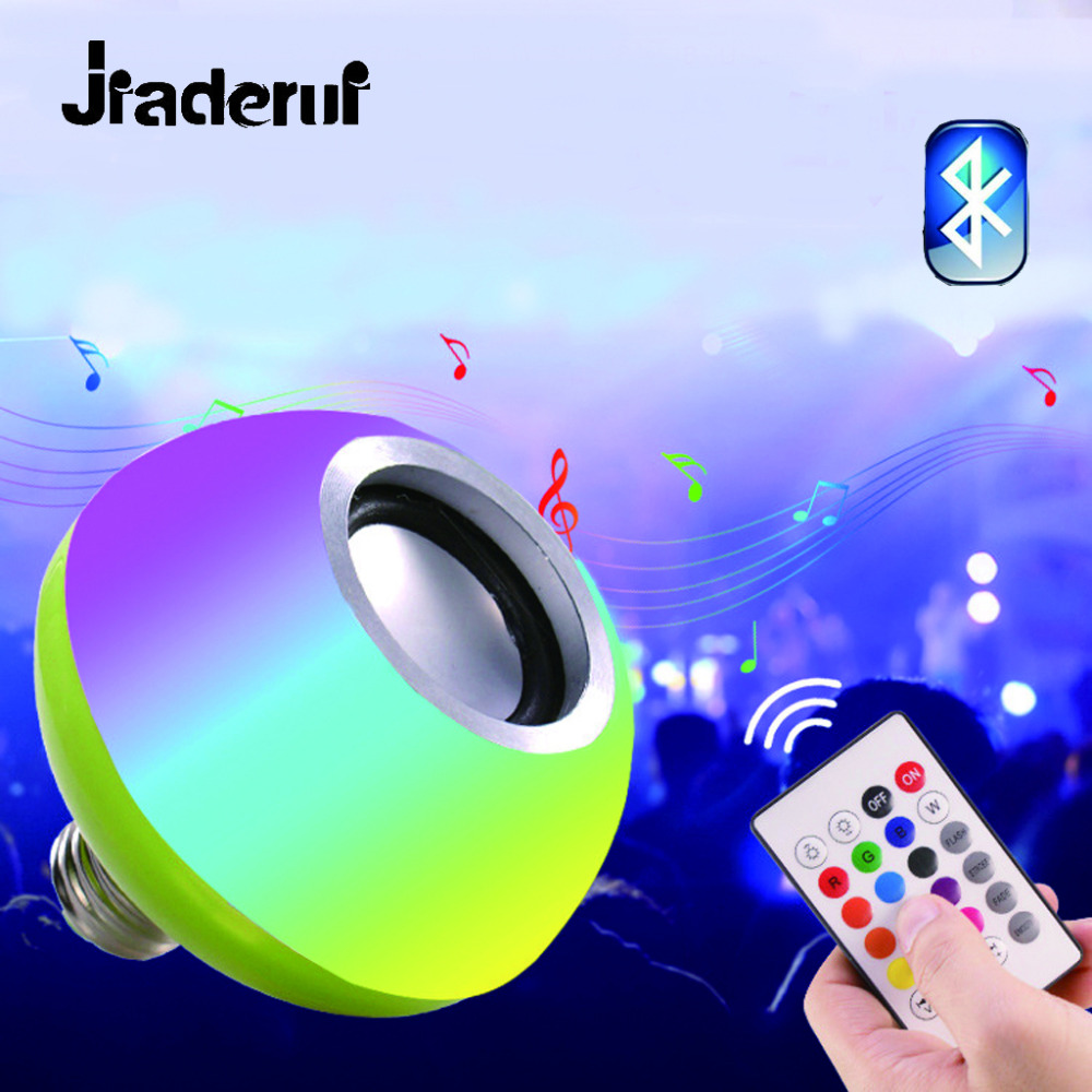 Jiaderui 2018 New Arrival RGB RGBW E27 <font><b>LED</b></font> Music Bulb Lamp with Sound Wireless Bluetooth Speaker Remote Control Playing <font><b>Dimmable</b></font>